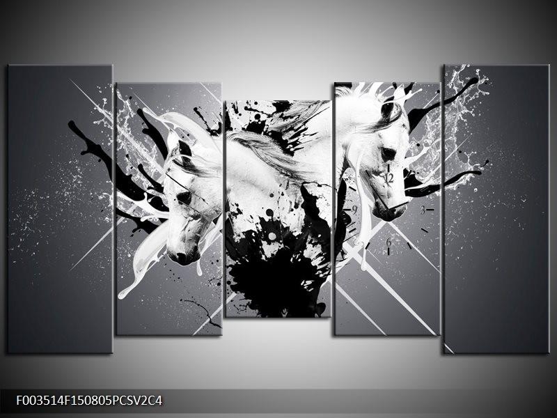 Klok schilderij Abstract | Wit, Zwart, Grijs | 150x80cm 5Luik