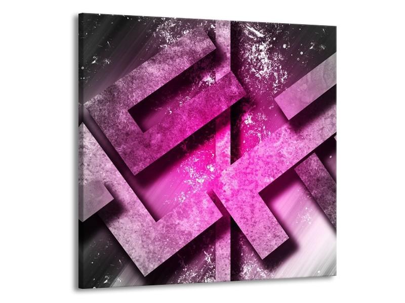 Canvas schilderij Abstract   Roze, Grijs, Wit   50x50cm 1Luik