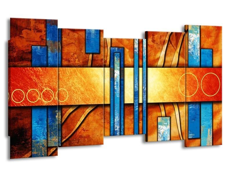 Canvas schilderij Abstract   Blauw, Geel, Oranje   150x80cm 5Luik