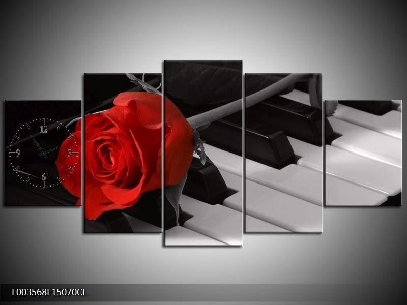 Klok schilderij Roos | Rood, Wit, Zwart | 150x70cm 5Luik
