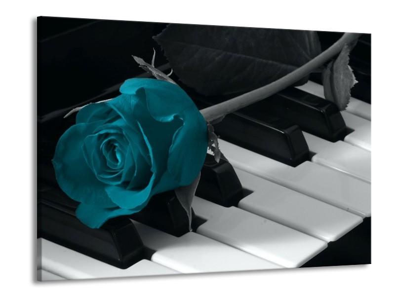 Glas schilderij Roos | Blauw, Zwart, Wit | 100x70cm 1Luik