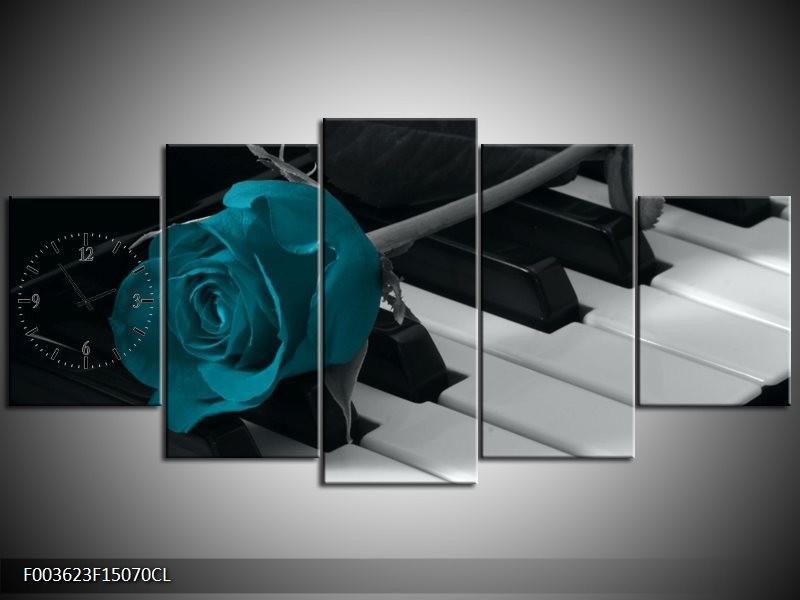 Klok schilderij Roos | Blauw, Zwart, Wit | 150x70cm 5Luik