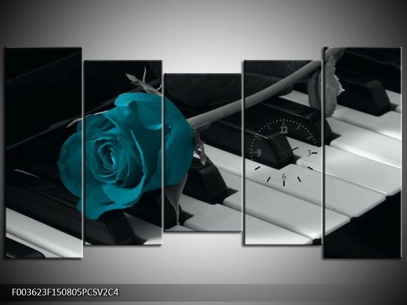 Klok schilderij Roos | Blauw, Zwart, Wit | 150x80cm 5Luik