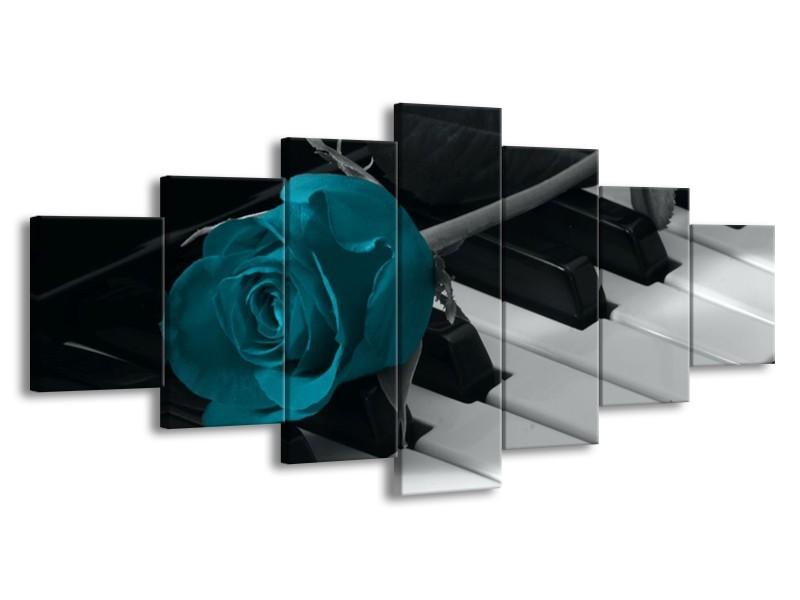 Glas schilderij Roos | Blauw, Zwart, Wit | 210x100cm 7Luik