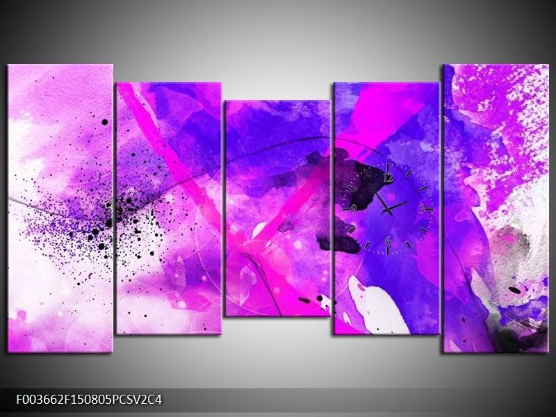 Klok schilderij Abstract | Paars, Roze, Wit | 150x80cm 5Luik