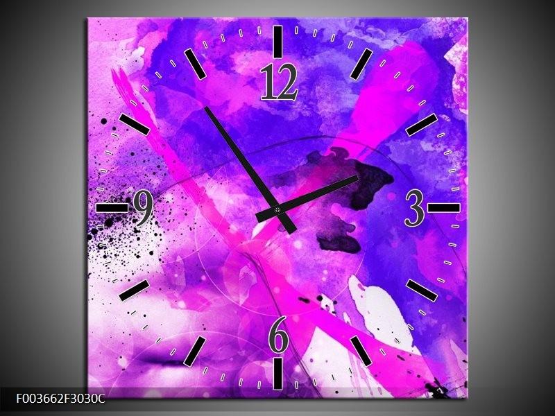 Klok schilderij Abstract | Paars, Roze, Wit | 30x30cm 1Luik