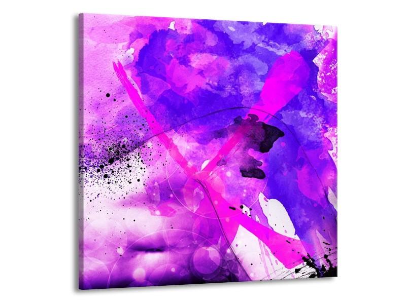 Glas schilderij Abstract | Paars, Roze, Wit | 70x70cm 1Luik