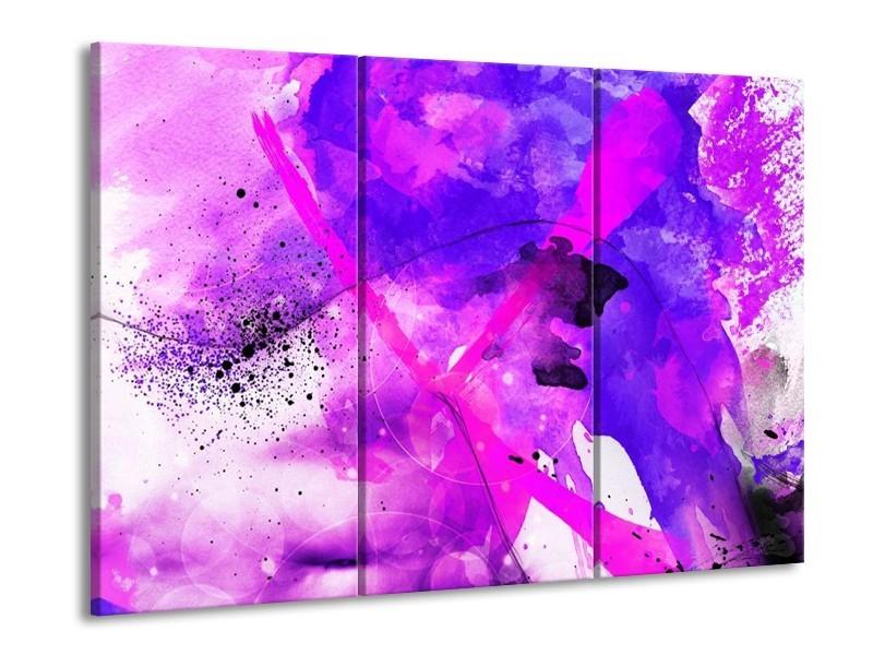Glas schilderij Abstract | Paars, Roze, Wit | 90x60cm 3Luik