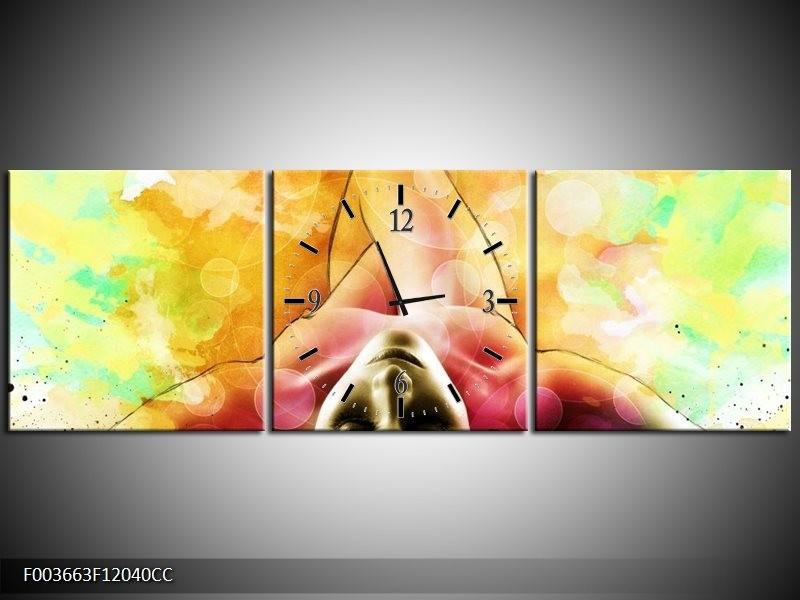 Klok schilderij Vrouw | Geel, Groen, Rood | 120x40cm 3Luik