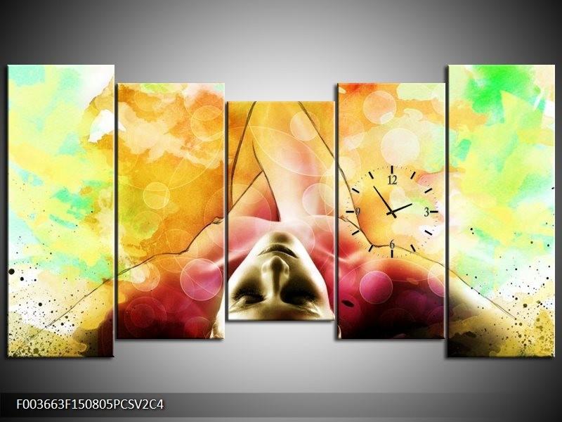 Klok schilderij Vrouw | Geel, Groen, Rood | 150x80cm 5Luik