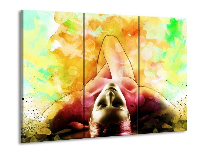 Glas schilderij Vrouw | Geel, Groen, Rood | 90x60cm 3Luik