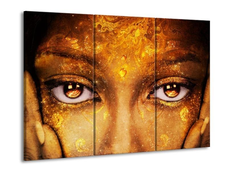 Glas schilderij Gezicht   Bruin, Geel, Goud   90x60cm 3Luik