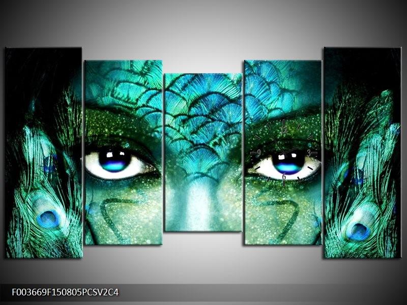 Klok schilderij Gezicht | Blauw, Wit, Zwart | 150x80cm 5Luik