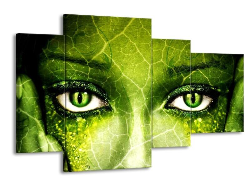 Canvas schilderij Gezicht | Groen, Wit, Zwart | 120x75cm 4Luik