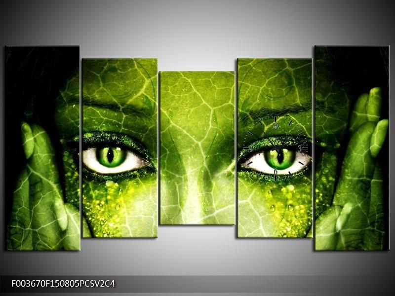 Klok schilderij Gezicht | Groen, Wit, Zwart | 150x80cm 5Luik