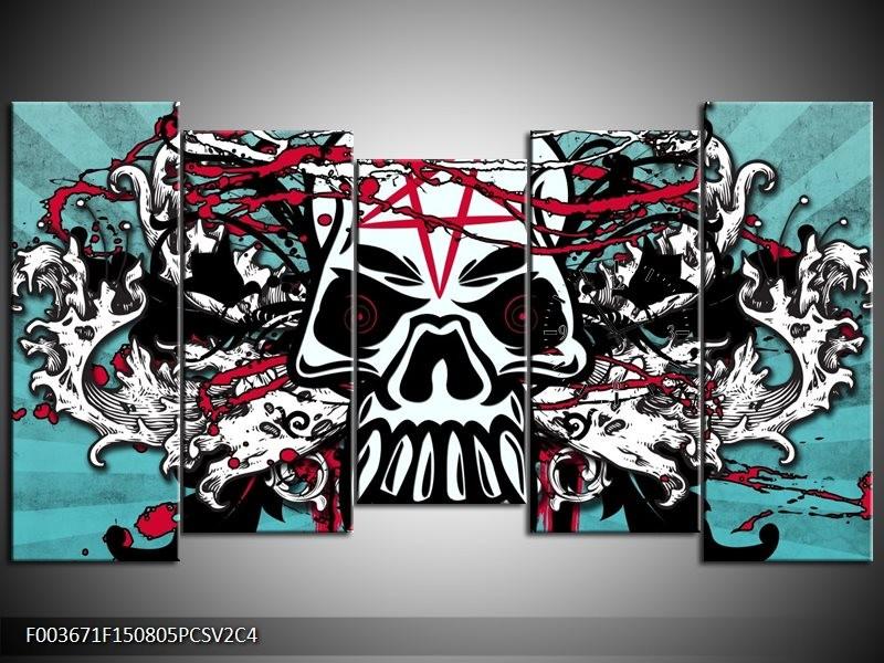 Klok schilderij Abstract | Blauw, Rood, Wit | 150x80cm 5Luik