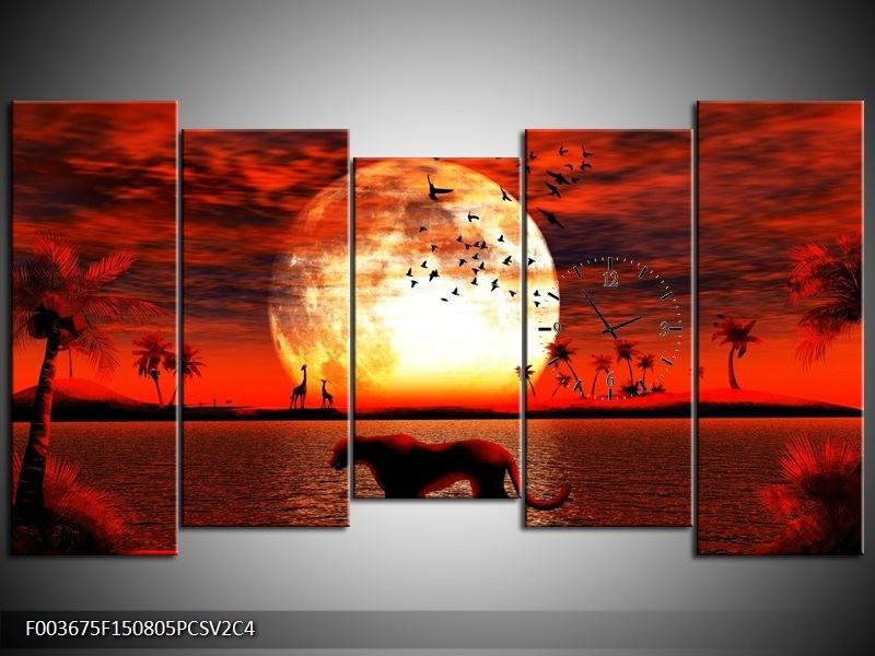 Klok schilderij Natuur | Rood, Wit, Zwart | 150x80cm 5Luik