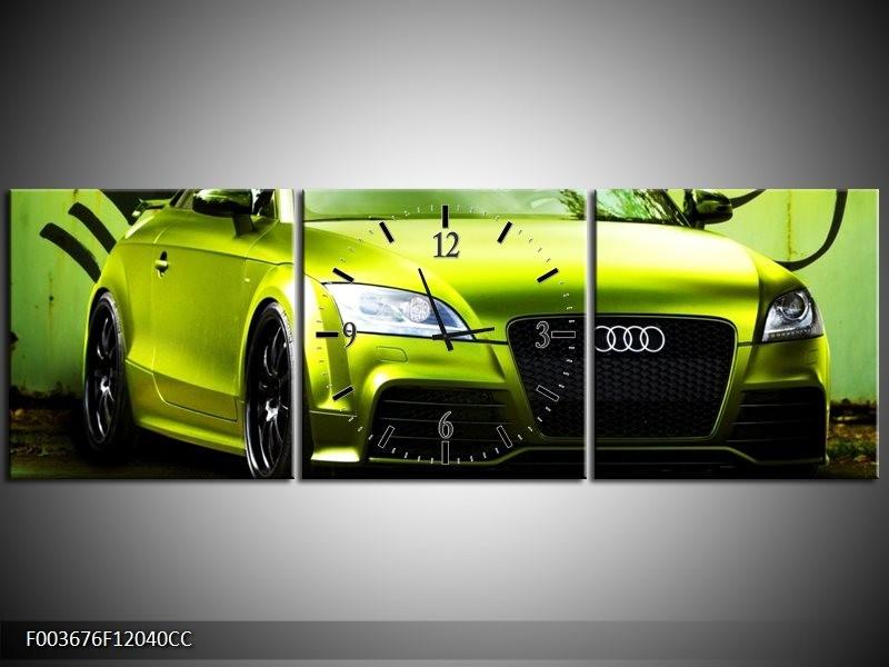 Klok schilderij Audi   Groen, Zwart   120x40cm 3Luik