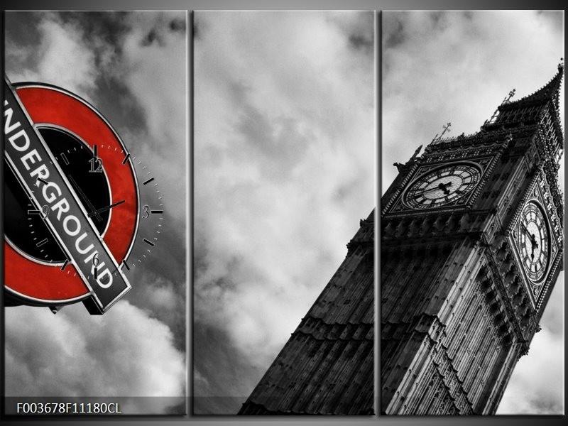 Klok schilderij Londen | Grijs, Zwart, Rood | 111x80cm 3Luik