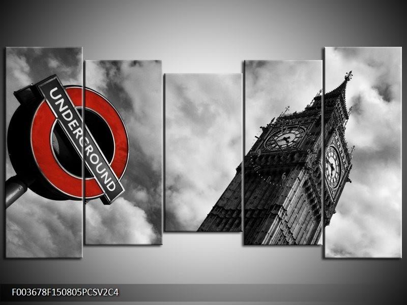 Klok schilderij Londen | Grijs, Zwart, Rood | 150x80cm 5Luik