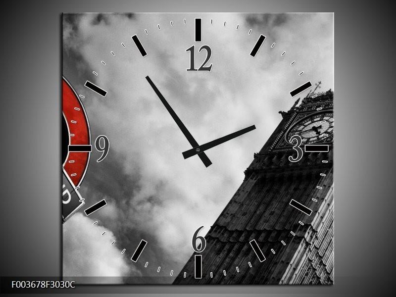 Klok schilderij Londen | Grijs, Zwart, Rood | 30x30cm 1Luik