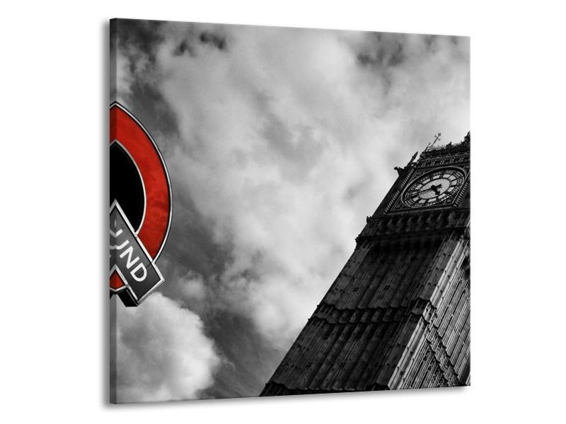 Canvas schilderij Londen | Grijs, Zwart, Rood | 70x70cm 1Luik
