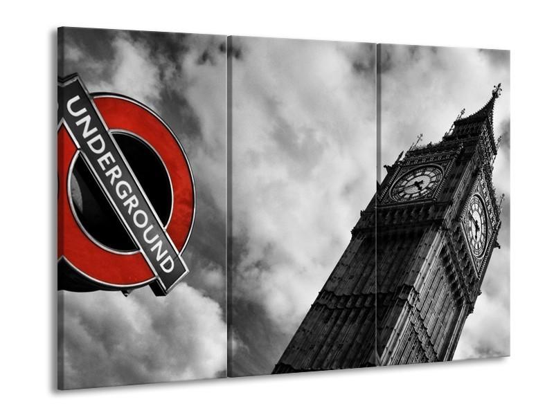Canvas schilderij Londen | Grijs, Zwart, Rood | 90x60cm 3Luik