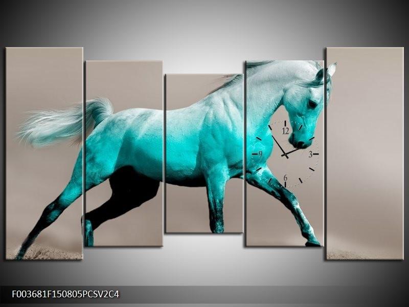 Klok schilderij Paard | Blauw, Grijs | 150x80cm 5Luik