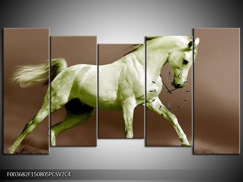 Klok schilderij Paard | Bruin, Groen | 150x80cm 5Luik