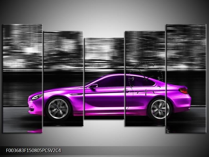 Klok schilderij Auto | Paars, Zwart | 150x80cm 5Luik