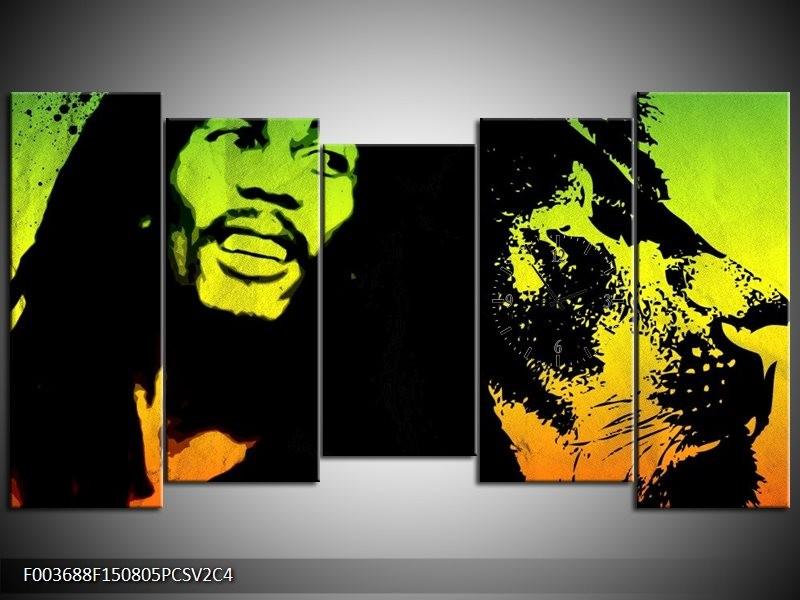 Klok schilderij Man | Groen, Zwart, Oranje | 150x80cm 5Luik