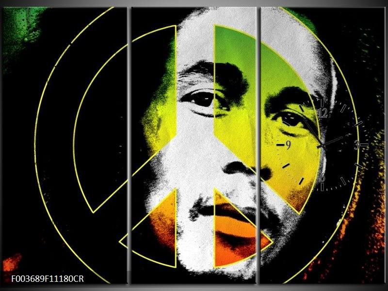Klok schilderij Man | Groen, Zwart, Oranje | 111x80cm 3Luik