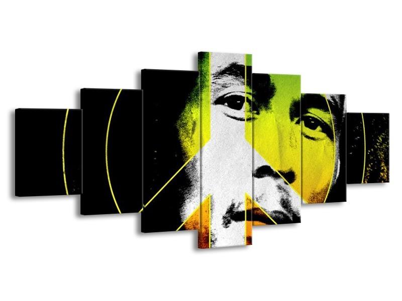 Canvas schilderij Man   Groen, Zwart, Oranje   210x100cm 7Luik