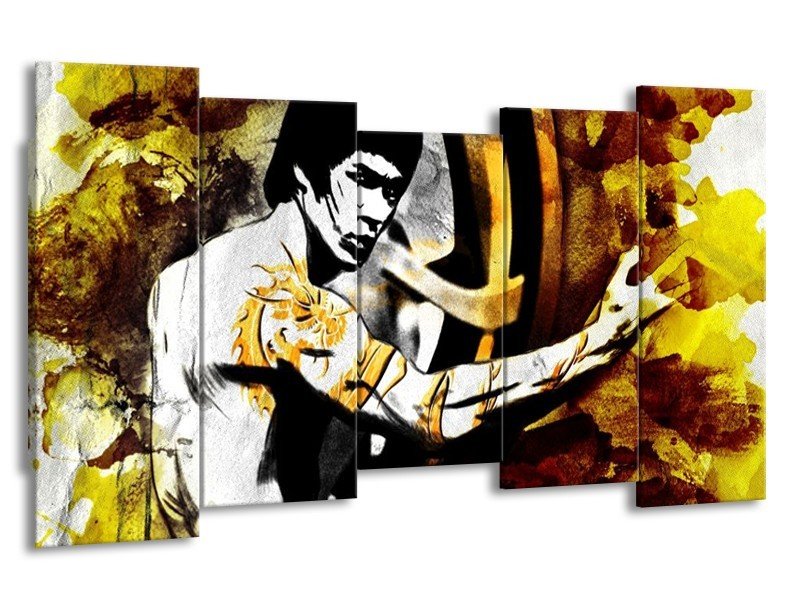 Glas schilderij Sport | Geel, Grijs, Zwart | 150x80cm 5Luik