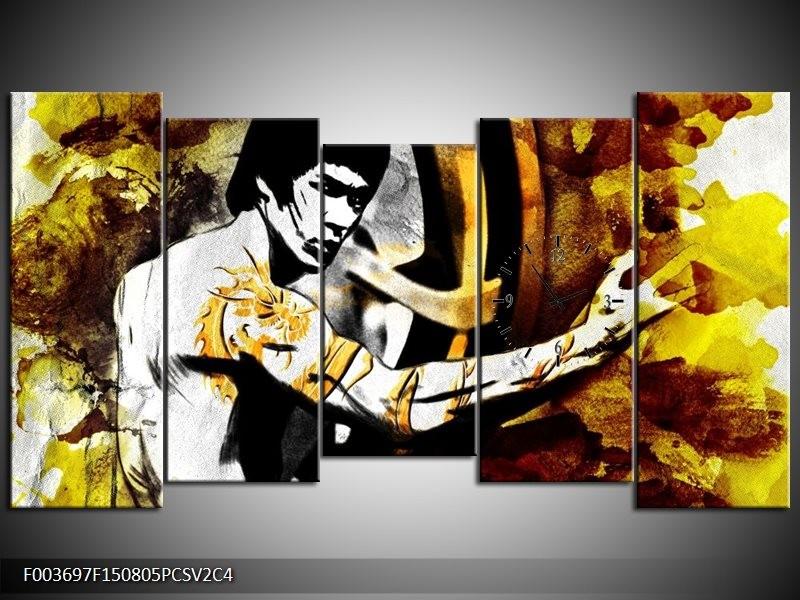 Klok schilderij Sport | Geel, Grijs, Zwart | 150x80cm 5Luik