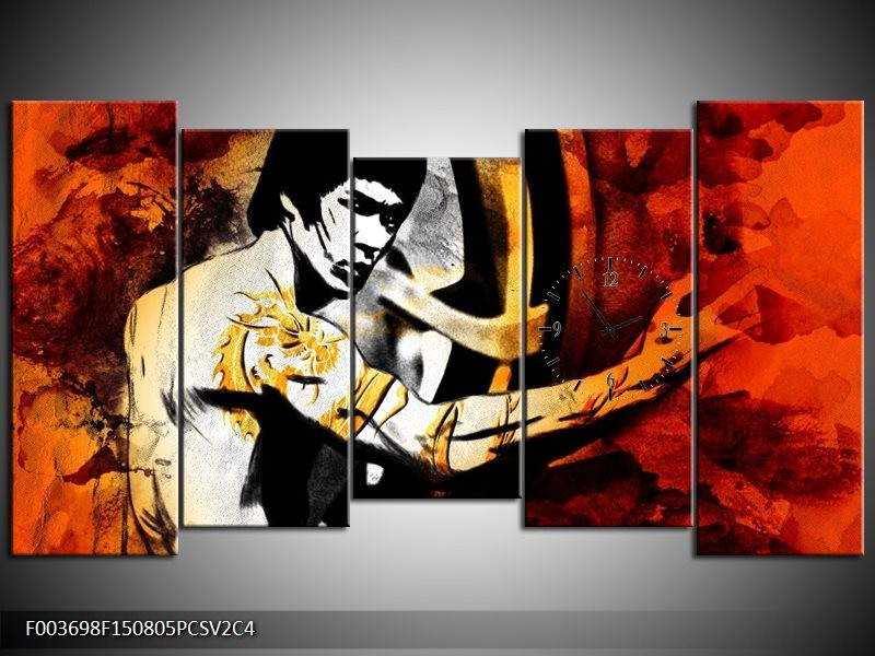 Klok schilderij Sport | Rood, Geel, Zwart | 150x80cm 5Luik