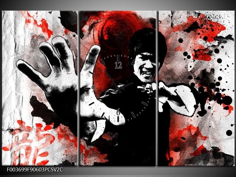 Klok schilderij Sport | Rood, Zwart, Wit | 90x60cm 3Luik