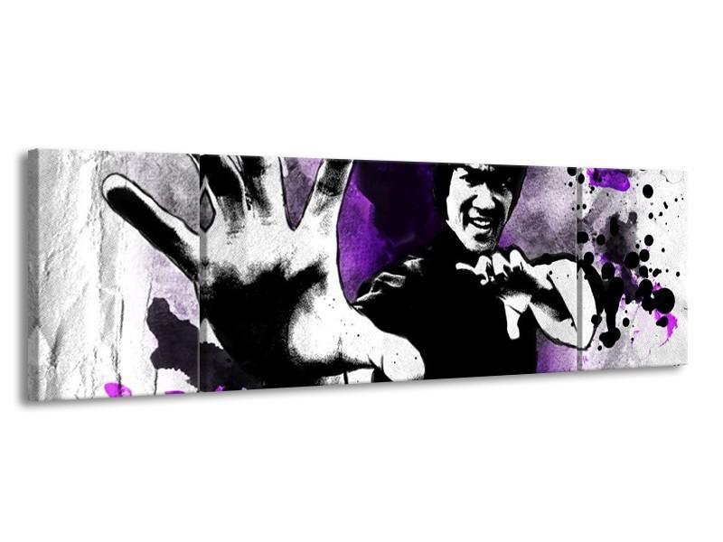 Canvas schilderij Sport | Paars, Zwart, Wit | 170x50cm 3Luik