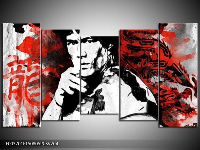 Klok schilderij Sport | Rood, Zwart, Wit | 150x80cm 5Luik