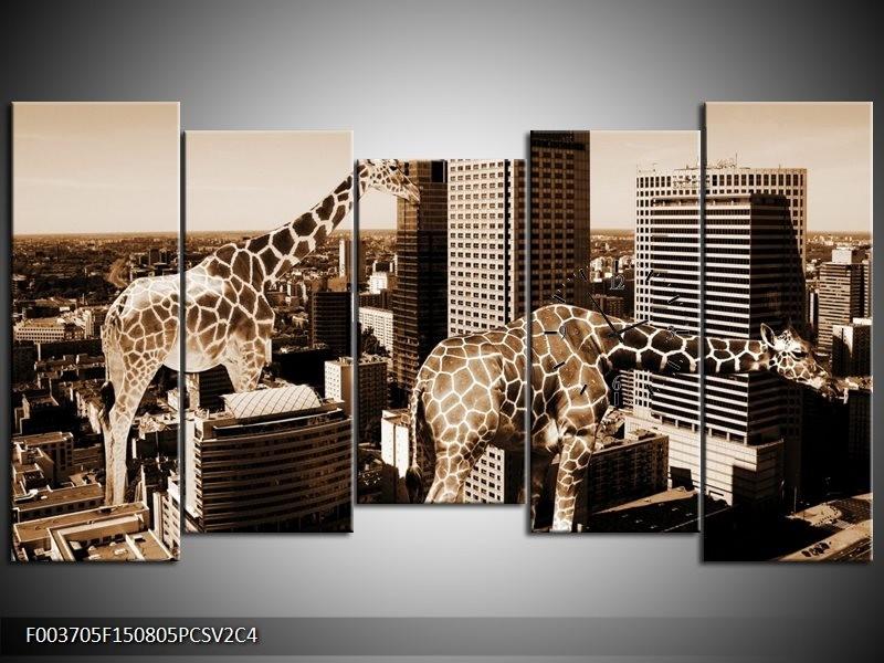 Klok schilderij Giraffe | Bruin, Wit | 150x80cm 5Luik