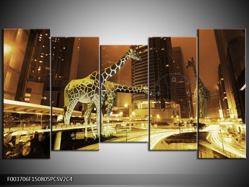 Klok schilderij Giraffe | Geel, Bruin, Zwart | 150x80cm 5Luik
