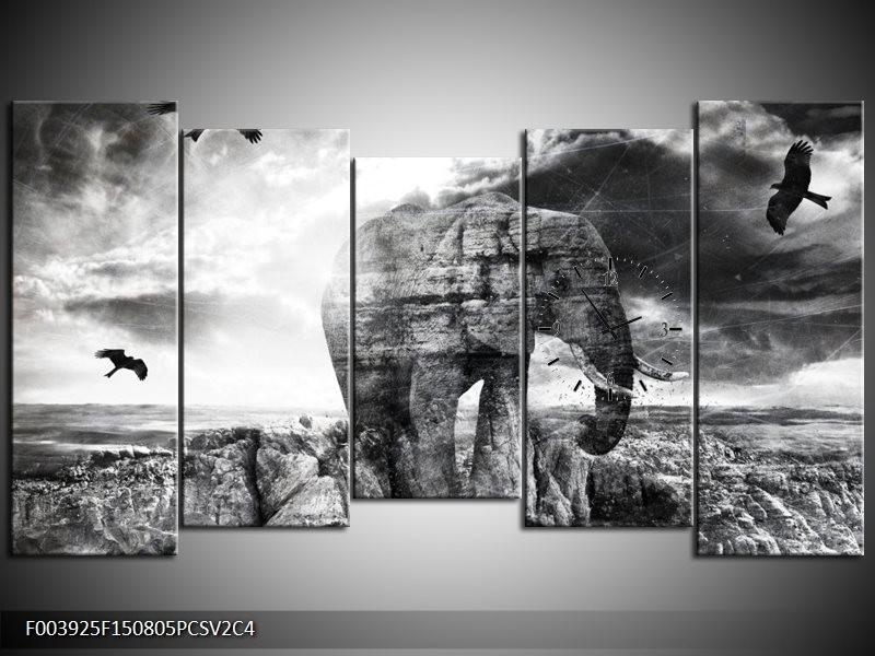 Klok schilderij Olifant   Grijs, Zwart, Wit   150x80cm 5Luik