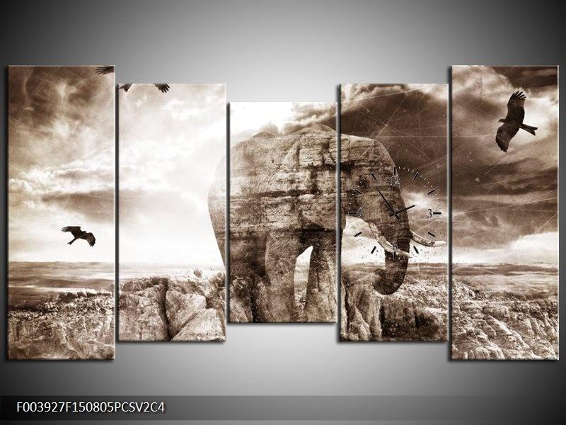 Klok schilderij Olifant   Grijs, Wit   150x80cm 5Luik