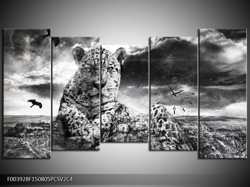 Klok schilderij Natuur   Grijs, Wit, Zwart   150x80cm 5Luik