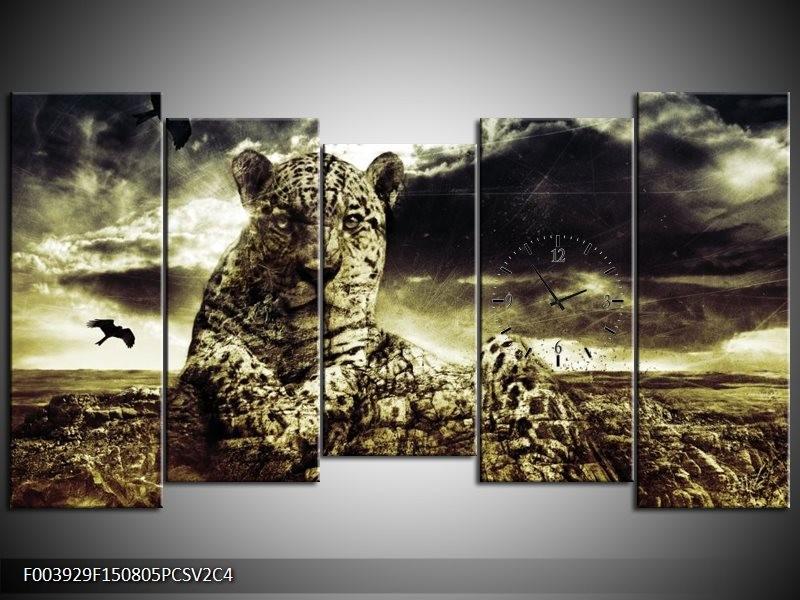 Klok schilderij Natuur   Geel, Groen, Zwart   150x80cm 5Luik