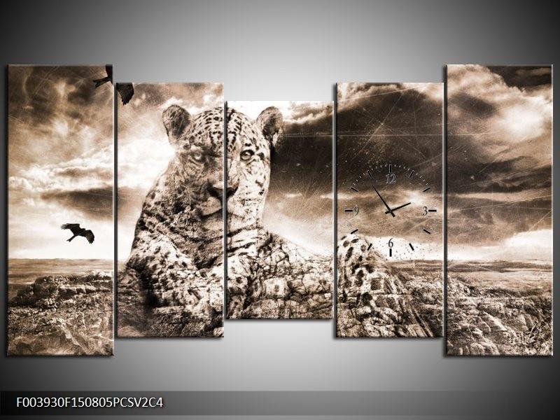 Klok schilderij Natuur   Grijs, Wit   150x80cm 5Luik