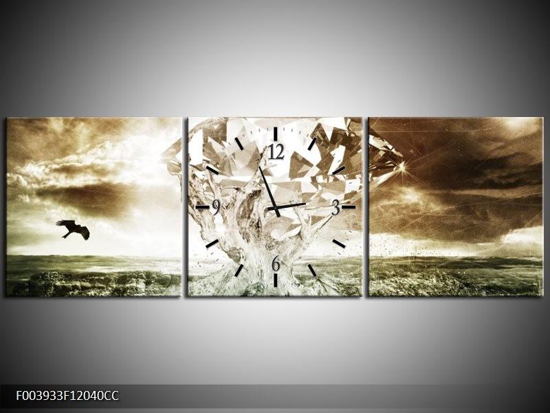 Klok schilderij Steen   Groen, Bruin, Wit   120x40cm 3Luik
