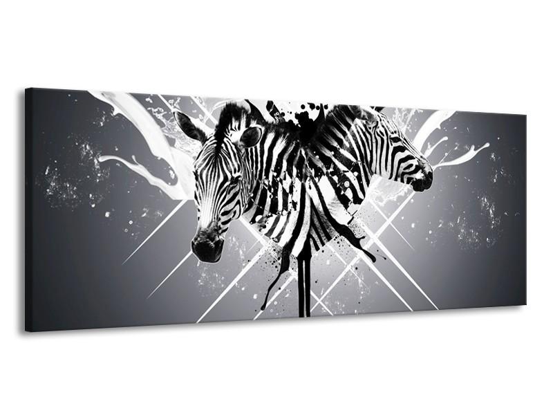 Canvas schilderij Zebra | Zwart, Wit, Grijs | 145x58cm 1Luik