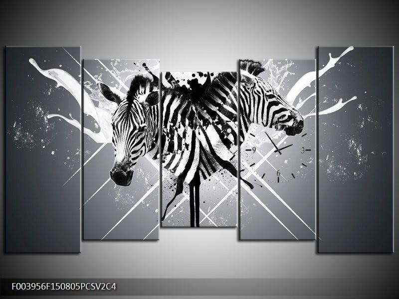 Klok schilderij Zebra   Zwart, Wit, Grijs   150x80cm 5Luik