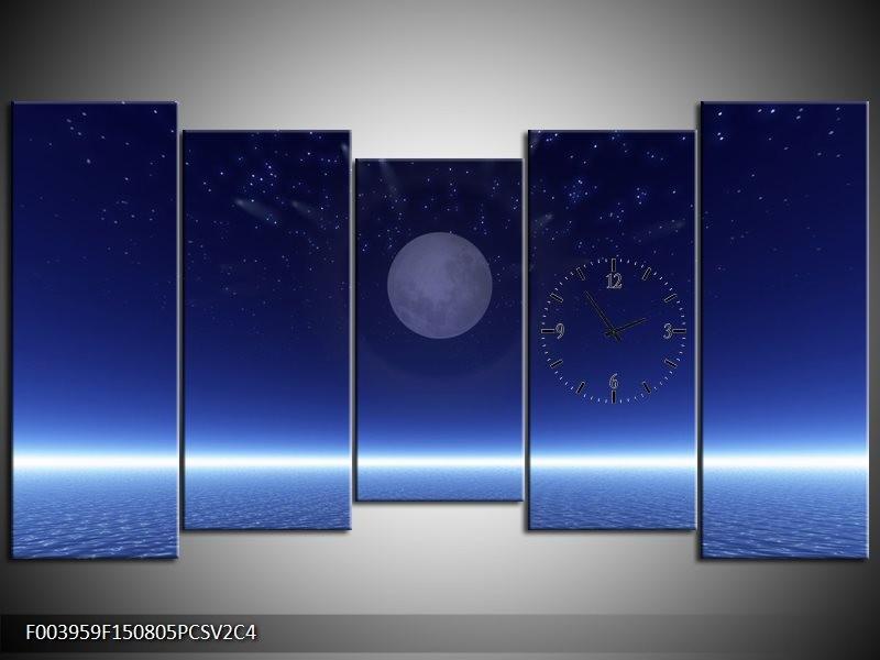 Klok schilderij Maan | Blauw, Wit, Grijs | 150x80cm 5Luik